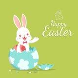 Λαγουδάκι Πάσχας και σπασμένο αυγό Διανυσματική απεικόνιση