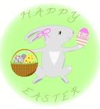 Λαγουδάκι Πάσχας με το καλάθι και τα αυγά διανυσματική απεικόνιση