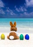 Λαγουδάκι Πάσχας στα χρωματισμένα αυγά Πάσχας Στοκ Εικόνα