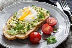 Λαθραία φρυγανιά αυγών και αβοκάντο Στοκ Φωτογραφία