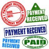 Λαμβανόμενο πληρωμή σύνολο γραμματοσήμων απεικόνιση αποθεμάτων