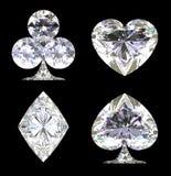 Λαμπιρίζοντας διαμορφωμένα διαμάντι κοστούμια καρτών Στοκ Εικόνα