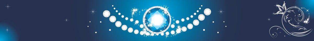 Λαμπιρίζοντας διαμάντια σε ένα μπλε υπόβαθρο απαγορευμένα Στοκ Εικόνες