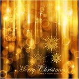 Λαμπιρίζοντας κάρτα Χριστουγέννων φω'των διανυσματική απεικόνιση
