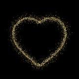 Λαμπιρίζοντας καρδιά στο μαύρο υπόβαθρο Στοκ εικόνα με δικαίωμα ελεύθερης χρήσης