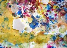 Λαμπιρίζοντας λασπώδες ζωηρόχρωμο κέρινο χρώμα, υπόβαθρο μορφών αντίθεσης στα χρώματα κρητιδογραφιών Στοκ Εικόνα