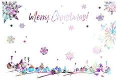 Λαμπιρίζοντας πλαίσιο σκιαγραφιών με το χειμερινό χωριό και τη χαιρετώντας Χαρούμενα Χριστούγεννα κειμένων `! ` Στοκ εικόνα με δικαίωμα ελεύθερης χρήσης