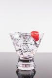 Λαμπιρίζοντας ποτό σε ένα martini γυαλί με το σμέουρο Στοκ Φωτογραφίες