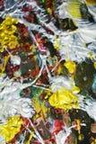 Λαμπιρίζοντας ρόδινο χρυσό άσπρο θολωμένο ρευστό χρώμα κτυπημάτων βουρτσών Αφηρημένο υπόβαθρο χρωμάτων Watercolor Στοκ φωτογραφία με δικαίωμα ελεύθερης χρήσης