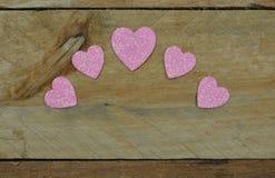 Λαμπιρίζοντας ρόδινες καρδιές για την ημέρα του βαλεντίνου Στοκ εικόνα με δικαίωμα ελεύθερης χρήσης