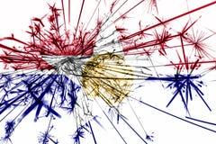 Λαμπιρίζοντας σημαία πυροτεχνημάτων του Ντάλλας, Ιλλινόις Νέο έτος 2019 και έννοια γιορτής Χριστουγέννων κράτη σημαιών της Αμερικ ελεύθερη απεικόνιση δικαιώματος
