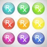 Λαμπρά κουμπιά Rx Ζωηρόχρωμο σύνολο συμβόλων της συνταγής Ιατρική και φαρμακείο επίσης corel σύρετε το διάνυσμα απεικόνισης Ελεύθερη απεικόνιση δικαιώματος