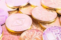 Λαμπρά νομίσματα etereum Στοκ Εικόνες