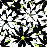Λαμπρά χρωματισμένα αφηρημένα λουλούδια σε μια μαύρη διανυσματική απεικόνιση σχεδίων υποβάθρου άνευ ραφής Στοκ Φωτογραφίες