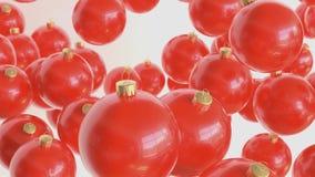 Λαμπρές κόκκινες διακοσμήσεις που επιπλέουν στο άσπρο διάστημα διανυσματική απεικόνιση