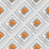 Λαμπρές πορτοκαλιές σφαίρες με τις οργανικά διαμορφωμένες συνδέσεις σε μια σειρά άσπρων τετραγώνων (άνευ ραφής) Στοκ Εικόνες