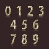 Λαμπρή πηγή της διανυσματικής απεικόνισης χρυσού και διαμαντιών Σύνολο αριθμού πολυτέλειας Στοκ Εικόνες