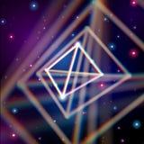 Λαμπρή πυραμίδα με τις παρεκκλίσεις χρώματος στο διάστημα διανυσματική απεικόνιση