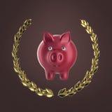 Λαμπρή ρόδινη piggy τράπεζα που περιβάλλεται από ένα στεφάνι δαφνών που απομονώνεται στο κόκκινο υπόβαθρο, τρισδιάστατη απόδοση Στοκ εικόνες με δικαίωμα ελεύθερης χρήσης