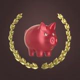 Λαμπρή ρόδινη piggy τράπεζα που περιβάλλεται από ένα στεφάνι δαφνών στο κόκκινο υπόβαθρο, τρισδιάστατη απόδοση Στοκ Εικόνα
