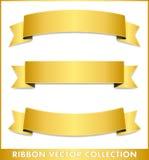 Λαμπρή χρυσή συλλογή κορδελλών διανυσματική απεικόνιση