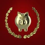 Λαμπρή χρυσή piggy τράπεζα που περιβάλλεται από ένα στεφάνι δαφνών που απομονώνεται στο κόκκινο υπόβαθρο, τρισδιάστατη απόδοση Στοκ Φωτογραφίες