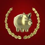 Λαμπρή χρυσή piggy τράπεζα που περιβάλλεται από ένα στεφάνι δαφνών στο κόκκινο υπόβαθρο, τρισδιάστατη απόδοση Στοκ φωτογραφία με δικαίωμα ελεύθερης χρήσης