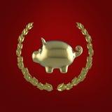 Λαμπρή χρυσή piggy τράπεζα που περιβάλλεται από ένα στεφάνι δαφνών στο κόκκινο υπόβαθρο, τρισδιάστατη απόδοση Στοκ φωτογραφίες με δικαίωμα ελεύθερης χρήσης
