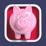 Λαμπρή piggy τράπεζα στο στρογγυλευμένο τετραγωνικό υπόβαθρο Εικονίδιο εφαρμογής Στοκ φωτογραφία με δικαίωμα ελεύθερης χρήσης