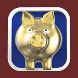 Λαμπρή piggy τράπεζα στο στρογγυλευμένο τετραγωνικό υπόβαθρο Εικονίδιο εφαρμογής Στοκ Εικόνες
