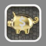 Λαμπρή piggy τράπεζα στο στρογγυλευμένο τετραγωνικό υπόβαθρο Εικονίδιο εφαρμογής Στοκ φωτογραφίες με δικαίωμα ελεύθερης χρήσης