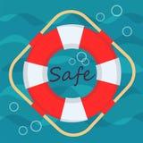 Λαμπρός ριγωτός σημαντήρας ζωής στα κύματα θάλασσας και τη γράφοντας ασφαλή διανυσματική απεικόνιση αποθεμάτων διανυσματική απεικόνιση