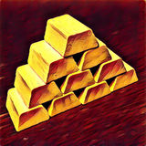 Λαμπρός χρυσός σωρός φραγμών στο κόκκινο υπόβαθρο απεικόνιση αποθεμάτων