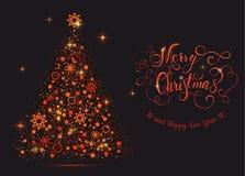 Λαμπρό κόκκινο νέο δέντρο έτους με τη Χαρούμενα Χριστούγεννα εγγραφής Στοκ Φωτογραφία