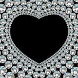 Λαμπρό πλαίσιο καρδιών διαμαντιών στο μαύρο υπόβαθρο Στοκ Εικόνα