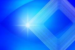 Λαμπρό σπινθήρισμα, τετραγωνικές μορφές και καμπύλες στο θολωμένο μπλε υπόβαθρο διανυσματική απεικόνιση