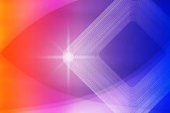 Λαμπρό σπινθήρισμα, τετραγωνικές μορφές και καμπύλες στο θολωμένο μπλε, πορφυρό, ρόδινο και κόκκινο υπόβαθρο απεικόνιση αποθεμάτων