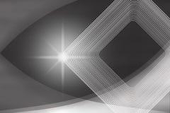 Λαμπρό σπινθήρισμα, τετραγωνικές μορφές και καμπύλες στο θολωμένο γκρίζο υπόβαθρο απεικόνιση αποθεμάτων