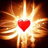 Λαμπρό υπόβαθρο βαλεντίνων με την κόκκινη καρδιά Στοκ φωτογραφία με δικαίωμα ελεύθερης χρήσης