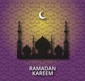 Λαμπρό υπόβαθρο του Kareem Ramadan με τη σκιαγραφία μουσουλμανικών τεμενών διανυσματική απεικόνιση