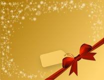 Λαμπρό χρυσό υπόβαθρο με το κόκκινο τόξο στη γωνία με τη τιμή Στοκ Εικόνα