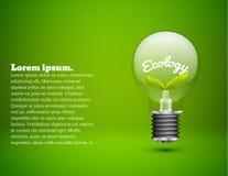 Λαμπτήρας οικολογίας abstarct στο πράσινο υπόβαθρο Στοκ Εικόνες