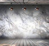 Λαμπτήρας στο βρώμικο συμπαγή τοίχο με το ξύλινο πάτωμα Στοκ φωτογραφία με δικαίωμα ελεύθερης χρήσης