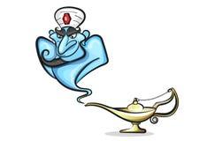 Λαμπτήρας Aladdin με το τζιν, ο μαγικός λαμπτήρας Στοκ Φωτογραφίες