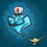 Λαμπτήρας Aladdin με το τζιν, ο μαγικός λαμπτήρας Στοκ Εικόνες