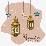 Λαμπτήρες με το φεγγάρι και αστέρια που κρεμούν στη διακόσμηση φεστιβ ελεύθερη απεικόνιση δικαιώματος