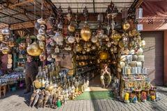 Λαμπτήρες παζαριών στο Μαρακές, Μαρόκο Στοκ Φωτογραφία