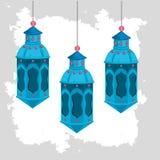 Λαμπτήρες που κρεμούν στο ramadan εορτασμό kareem διανυσματική απεικόνιση