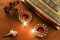 Λαμπτήρες Diya Diwali - ινδικό φεστιβάλ των φω'των Στοκ Φωτογραφίες