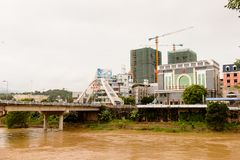 Λαοτιανό CAI (Βιετνάμ) - εκτάριο Khau (Κίνα), μια από την Κίνα - το Βιετνάμ στοκ φωτογραφίες